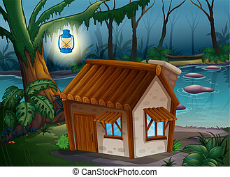 A house, a lamp and a river - Illustration of a house, a...