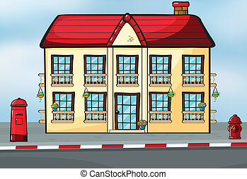 A house and a mailbox - Illustration of a house and a...