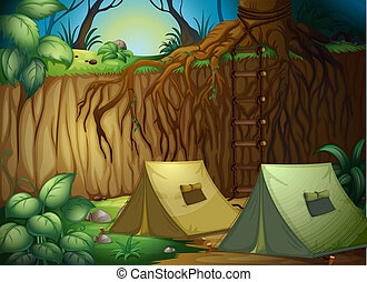 Tents for camping in forest - Illustration of camping in a...
