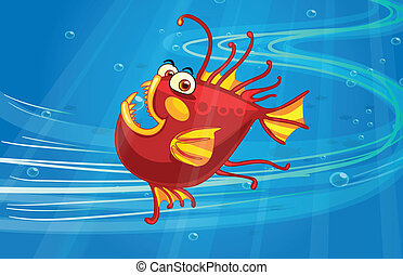 A scary fish - Illustration of a scary fish in the blue sea