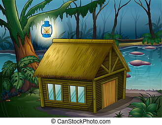 A bamboo house in the jungle - illustration of a bamboo...