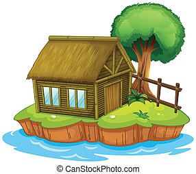 A house and tree on island - Illustration of a house and a...