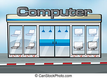 A computer shop - Illustration of a computer shop near the...