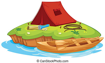 vaious objects for camping and a canoe - Illustration of...
