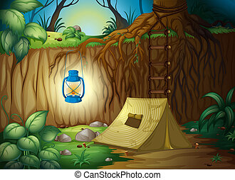 Camping in the jungle - Illustration of camping in the...