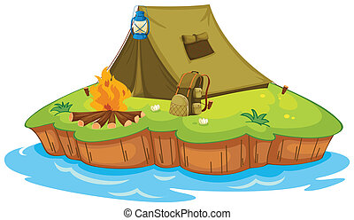 Camping on an island - Illustration of camping on an island