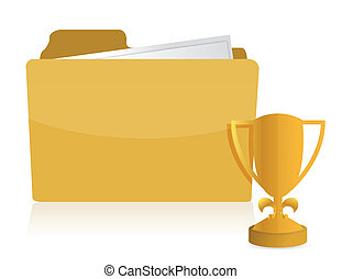 Yellow folder with golden trophy Icon