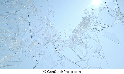 Shattered window glass with slow motion and blue sky. Alpha...