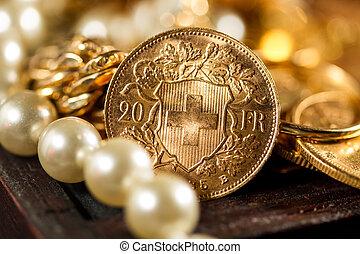 vinte, Suíço, francos, moedas