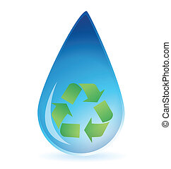 Water drop with recycle symbol inside illustration design