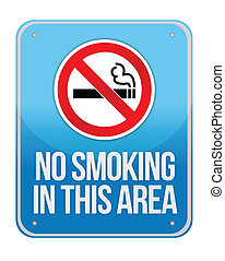 Blue Square No Smoking In This Area Sign Isolate on White