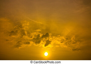 Rising Gold Sun Beam and Could Sky