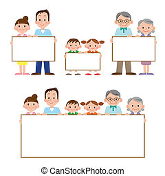 The family who has whiteboard - Illustration set of the...