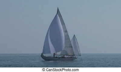 old sail 01 - Old sailing boat in Mediterranean Sea during a...