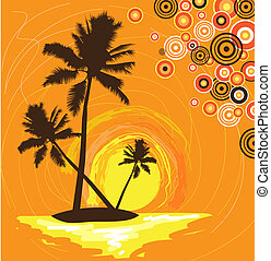 island with palms - abstract stylized illustration of a...