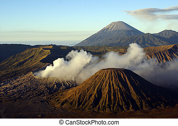 Morning and vulcanos in caldera, Java, Indonesia...