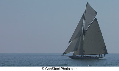 old sail 02 - Old sailing boat in Mediterranean Sea during a...