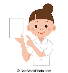 Nurse or young medical doctor woman showing paper isolated...
