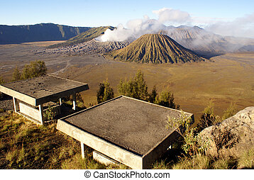View on vulcanos from the view point, Java...