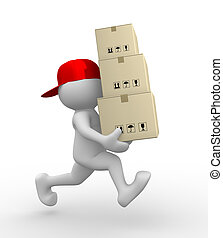 Postman - 3d people - man, person with carton boxes (...