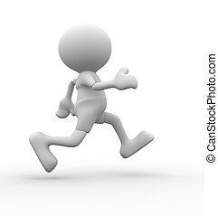 Sportsman - 3d people - man, person running