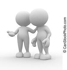 Friends  -  Friends talking. 3d people - men, person.