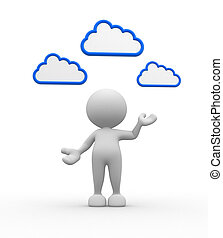 Clouds - 3d people - man, person with clouds over the head