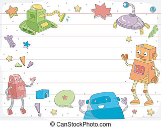 Robot Doodles on Ruled Paper Background - Background...