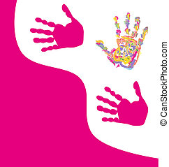 prints of hands - hand print abstract color background