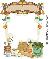 Country Kitchen with Blank Sign - Background Illustration of...