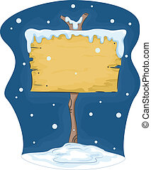 Blank Signboard in Snow Background - Illustration of Blank...
