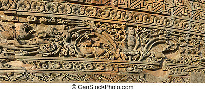Dhamekh Stupa Sarnath India - a relief of the Dhamekh Stupa...