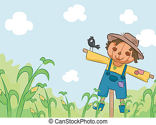 Scarecrow in Corn Farm - Illustration of a Smiling Scarecrow...