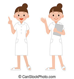 young nurse pointing the index finger up, guiding...