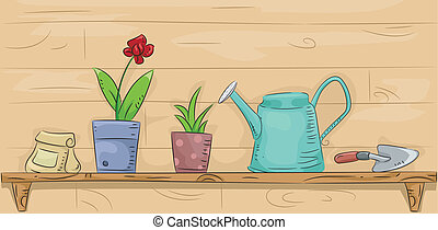 Gardening Shelf - Illustration of a Shelf Filled with...