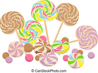 sweet lollipops - colorful illustration with sweet lollipops...