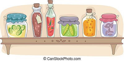 Kitchen Shelf - Illustration of a Kitchen Shelf Filled with...