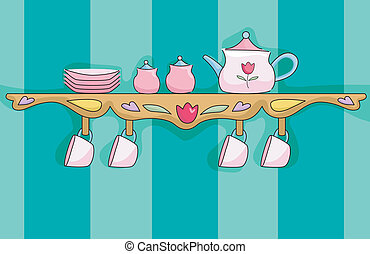 Tea Set Shelf - Illustration of a Shelf Holding a Pink Tea...