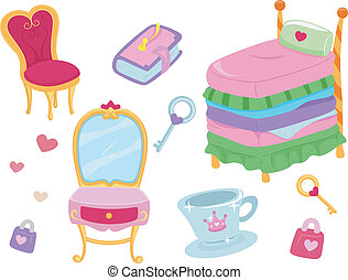 Princess Design Elements - Illustration of Princess Related...