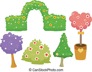 Garden Hedges and Trees - Illustration of Different Garden...