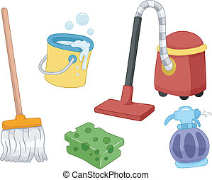 House Cleaning Tools - Illustration of Different House...