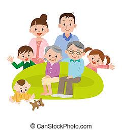 famille, rassemblé, Vivant, salle