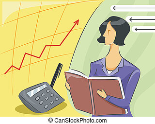 Girl Accountant - Illustration of a Female Accountant...