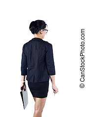 Back view of business woman holding folder and pen - Back...