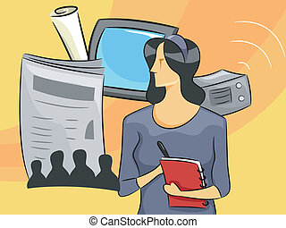 Woman Journalist - Cartoon Illustration of a Woman...