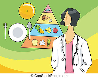 Nutritionist Woman - Cartoon Illustration of a Nutritionist...