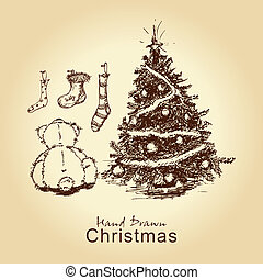 teddy and christmas tree - hand drawn vintage christmas card...