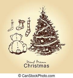 teddy and christmas tree - hand drawn vintage christmas card...