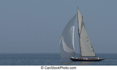 old sail 05 - Old sailing boat in Mediterranean Sea during a...