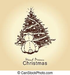 teddy bear and christmas tree - hand drawn vintage christmas...